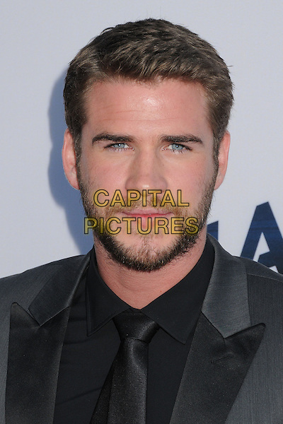 Liam Hemsworth<br /> &quot;Paranoia&quot; Los Angeles Premiere held at the Directors Guild of America, West Hollywood, California, USA, 8th August 2013.<br /> portrait headshot  beard facial hair grey gray suit black shirt tie a<br /> CAP/ADM/BP<br /> &copy;Byron Purvis/AdMedia/Capital Pictures
