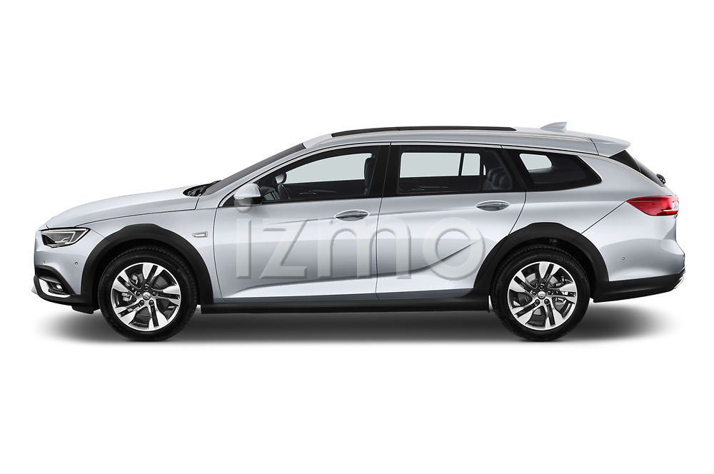 Car driver side profile view of a 2018 Opel Insignia Country Tourer Exclusive 5 Door Wagon