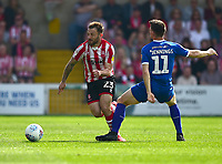 Lincoln City's Neal Eardley is fouled by Tranmere Rovers' Connor Jennings<br /> <br /> Photographer Andrew Vaughan/CameraSport<br /> <br /> The EFL Sky Bet League Two - Lincoln City v Tranmere Rovers - Monday 22nd April 2019 - Sincil Bank - Lincoln<br /> <br /> World Copyright © 2019 CameraSport. All rights reserved. 43 Linden Ave. Countesthorpe. Leicester. England. LE8 5PG - Tel: +44 (0) 116 277 4147 - admin@camerasport.com - www.camerasport.com
