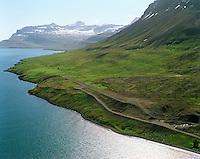 BISJ Seyðisfjörður lokaður flugvöllur séð til austurs /.BISJ Seydisfjordur closed airfield viewing east.