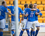 St Johnstone v Inverness Caledonian Thistle...05.10.13      SPFL<br /> Dave Mackay celebrates his goal<br /> Picture by Graeme Hart.<br /> Copyright Perthshire Picture Agency<br /> Tel: 01738 623350  Mobile: 07990 594431