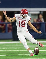Hawgs Illustrated/Ben Goff<br /> Connor Limpert of Arkansas makes the opening kickoff to Texas A&M Saturday, Sept. 29, 2018, during the Southwest Classic at AT&T Stadium in Arlington, Texas.