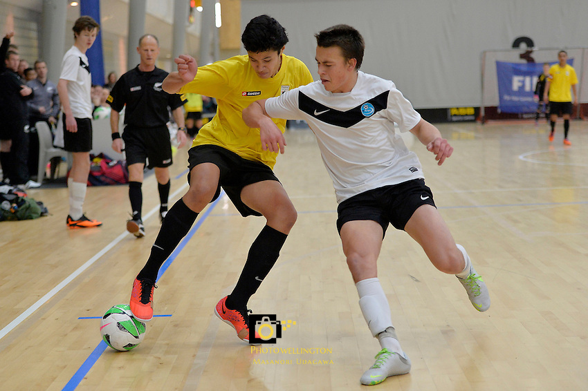 Action from the Futsal Boys 16's Final - National Youth Championships at ASB Sports Centre, Wellington, New Zealand on Sunday 13 July 2014. <br /> Photo by Masanori Udagawa. <br /> www.photowellington.photoshelter.com.