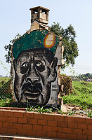 "UGANDA, Kampala, Graffiti of President Yoweri Museveni ""No Change"", as since 1986 he is ruling"