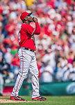 22 June 2014: Washington Nationals pitcher Rafael Soriano closes out a game against the Atlanta Braves at Nationals Park in Washington, DC. The Nationals defeated the Braves 4-1 to split their 4-game series and take sole possession of first place in the NL East. Mandatory Credit: Ed Wolfstein Photo *** RAW (NEF) Image File Available ***