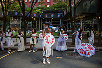 NEW YORK, NEW YORK - June 20: A group of women hold an art show on June 20, 2020. Juneteenth commemorates June 19, 1865, when a Union general read orders in Galveston, Texas stating all enslaved people in Texas were free according to federal law. (Photo by Pablo Monsalve / VIEWpress via Getty Images)