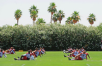 Jun 9, 2008; Tempe, AZ, USA; Arizona Cardinals players stretch during mini camp at the Cardinals practice facility. Mandatory Credit: Mark J. Rebilas-