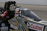 Apr. 6, 2013; Las Vegas, NV, USA: Detailed view of the canopy on the car of NHRA top fuel dragster driver Brittany Force during qualifying for the Summitracing.com Nationals at the Strip at Las Vegas Motor Speedway. Mandatory Credit: Mark J. Rebilas-