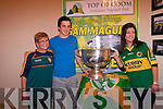 Celine and Mary Lynch and Kerry footballer, Paul Murphy with the Sam Maguire in the Top of Coom.
