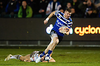 Ruaridh McConnochie of Bath Rugby gets past Jacob Morris of Gloucester Rugby. Premiership Rugby Cup match, between Bath Rugby and Gloucester Rugby on February 3, 2019 at the Recreation Ground in Bath, England. Photo by: Patrick Khachfe / Onside Images