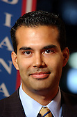 New York, NY - August  31, 2004 -- George P. Bush, son of Florida Governor Jeb Bush and his wife, Columba, is interviewed in the floor of the 2004 Republican National Convention at Madison Square Garden in New York on August 31, 2004..Credit: Ron Sachs / CNP  .(RESTRICTION: No New York Metro or other Newspapers within a 75 mile radius of New York City)