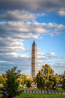 Washington Monument Washington DC Washington Monument Washington DC<br /> The Washington Monument, a Washington D.C. landmark , is a large obelisk near the west end of the National Mall. It is a United States Presidential Memorial constructed to commemorate the first U.S. president, George Washington. The monument, made of marble, granite, and sandstone, is both the world's tallest stone structure and the world's tallest obelisk. A national icon and popular tourist attraction in Washington DC.