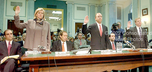 Washington, D.C. - February 26, 2002 --  Sherron Watkins, Jeffrey Skilling, and Jeffrey McMahon are sworn to testify before the United States Senate Commerce, Science and Transportation Committee to examine certain issues with respect to the collapse of Enron Corporation..Credit: Ron Sachs / CNP