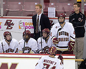 Patrick Alber (BC - 27), Malcolm Lyles (BC - 23), Greg Brown (BC - Assistant Coach), Edwin Shea (BC - 8), Tommy Cross (BC - 4), Bert Lenz (BC - Trainer) - The Boston College Eagles defeated USA Hockey's National Team Development Program's Under 18 team 6-3 on Friday, October 9, 2009 at Conte Forum in Chestnut Hill, Massachusetts.