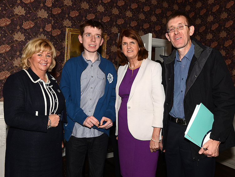 Senator Mary Moran, Minister for Social Protection Joan Bruton, Ian and John McNamee Dundalk at the launch of the Walk Peer Programme in Bellingham Castle hotel. Photo:Colin Bell/pressphotos.ie