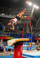 Aug. 9, 2008; Beijing, CHINA; Alexander Artemev (USA) performs on the vault during mens gymnastics qualification during the Olympics at the National Indoor Stadium. Mandatory Credit: Mark J. Rebilas-