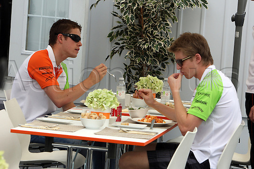 06.10.2011, Montreal, Canada. Formula 1 Grand Prix.   Paul di Resta and Nico Huelkenberg, Team Force India, enjoying a meal..