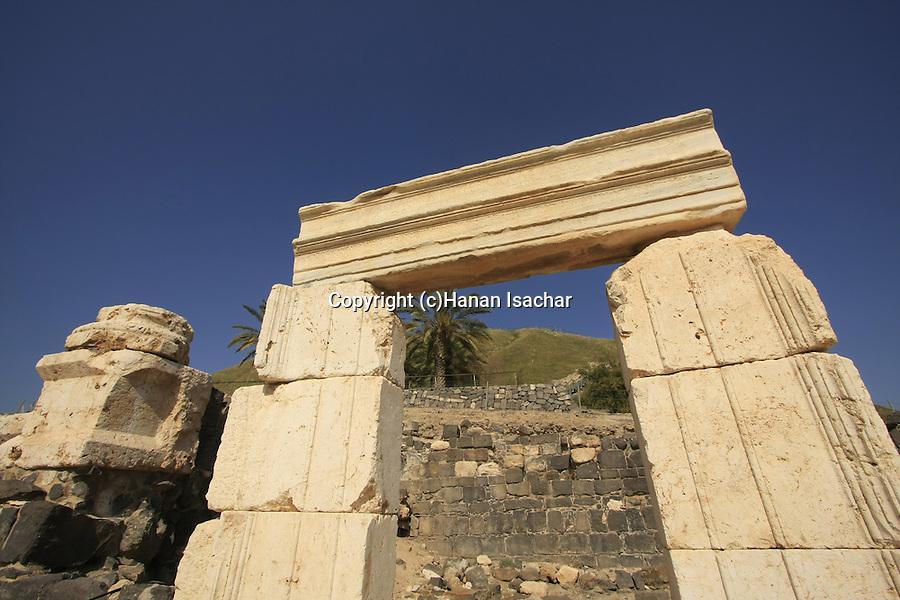 Israel, Beth Shean valley. Ruins of the Roman-Byzantine city Scythopolis, Tel Beth Shean is in the background