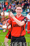 James Duncan Kenmare Captain with the cup after defeating  Crokes in the County Intermediate Final at Austin Stack Park Tralee on Sunday.