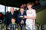 Lee Strand U16 County District Championship Football Cup Final East Kerry V West Kerry. East Kerry captain Darragh Lyne presented with the Cup by Tom Keane, and Gerry Dwyer Lee Strand, With tommy Keane