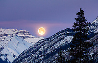Moon rise over Sunshine Village, Banff, Canada.