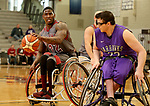 MARSHALL, MN - MARCH 17:  Dequel Robinson #22 from Alabama looks to make a move against Kyle Picchetti #33 form the University Wisconsin Whitwater during their championship game at the 2018 National Intercollegiate Wheelchair Basketball Tournament at Southwest Minnesota State University in Marshall, MN. (Photo by Dave Eggen/Inertia)