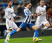 ATENCAO EDITOR IMAGEM EMBARGADA PARA VEICULOS INTERNACIONAIS - MADRI, ESPANHA, 16 DEZEMBRO 2012 - CAMP. ESPANHOL - REAL MADRID - ESPANYOL - Sergio Garcia jogador do Espanyol durante partida contra o Real Madrid pela 16 rodada do Campeonato Espanhol, no Estadio Santiago Bernabeu em Madri, capital da Espanha. A partida terminou 2 a 2. (FOTO: CESAR CEBOLLA / ALFAQUI / BRAZIL PHOTO PRESS).