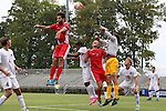 30 August 2015: Elon's Matthew Jegier (in gray) challenges for a throw-in against Saint Mary's Ben Braman (16) and Max Mirner (3). The Elon University Phoenix played the Saint Mary's College Gaels at Koskinen Stadium in Durham, NC in a 2015 NCAA Division I Men's Soccer match. Elon won the game 1-0.