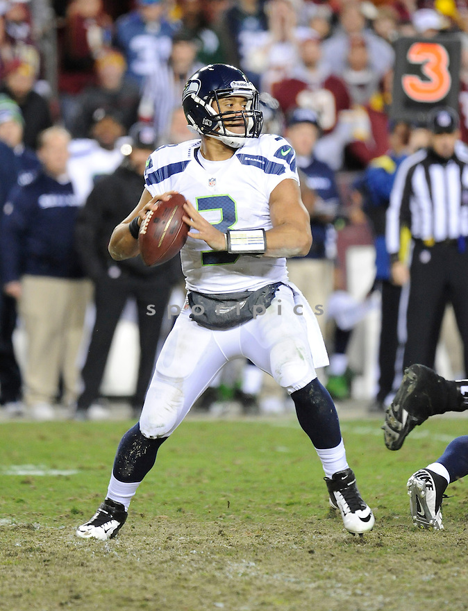 Seattle Seahawks Russell Wilson (3) in action during a game against the Redskins in January 6, 2013 at FedExField in Washington, DC. The Seahawks beat the Ravens 24-14.