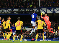 29th October 2019; Goodison Park, Liverpool, Merseyside, England; English Football League Cup, Carabao Cup Football, Everton versus Watford; Watford goalkeeper Heurelho Gomes claims a cross challenged by Dominic Calvert-Lewin of Everton   - Strictly Editorial Use Only. No use with unauthorized audio, video, data, fixture lists, club/league logos or 'live' services. Online in-match use limited to 120 images, no video emulation. No use in betting, games or single club/league/player publications