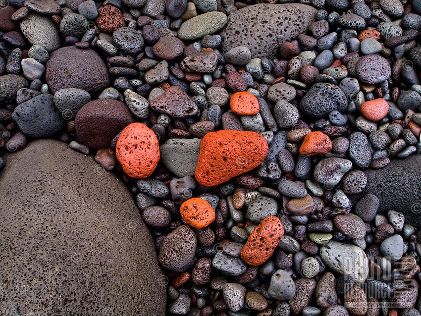 Colorful stones are plentiful at Pololu Valley's beach, Hawi, Big Island of Hawai'i.