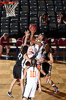 SAN ANTONIO , TX - MARCH 4, 2010: Heartland Conference Women's Basketball Tournament Quarter-Finals featuring the Texas A&M International University Dustdevils vs. the University of Texas of the Permian Basin Falcons at the Bill Greehey Arena. (Photo by Jeff Huehn)