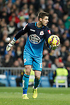 Deportivo de la Courna´s goalkeeper Fabricio during La Liga match at Santiago Bernabeu stadium in Madrid, Spain. February 14, 2015. (ALTERPHOTOS/Victor Blanco)