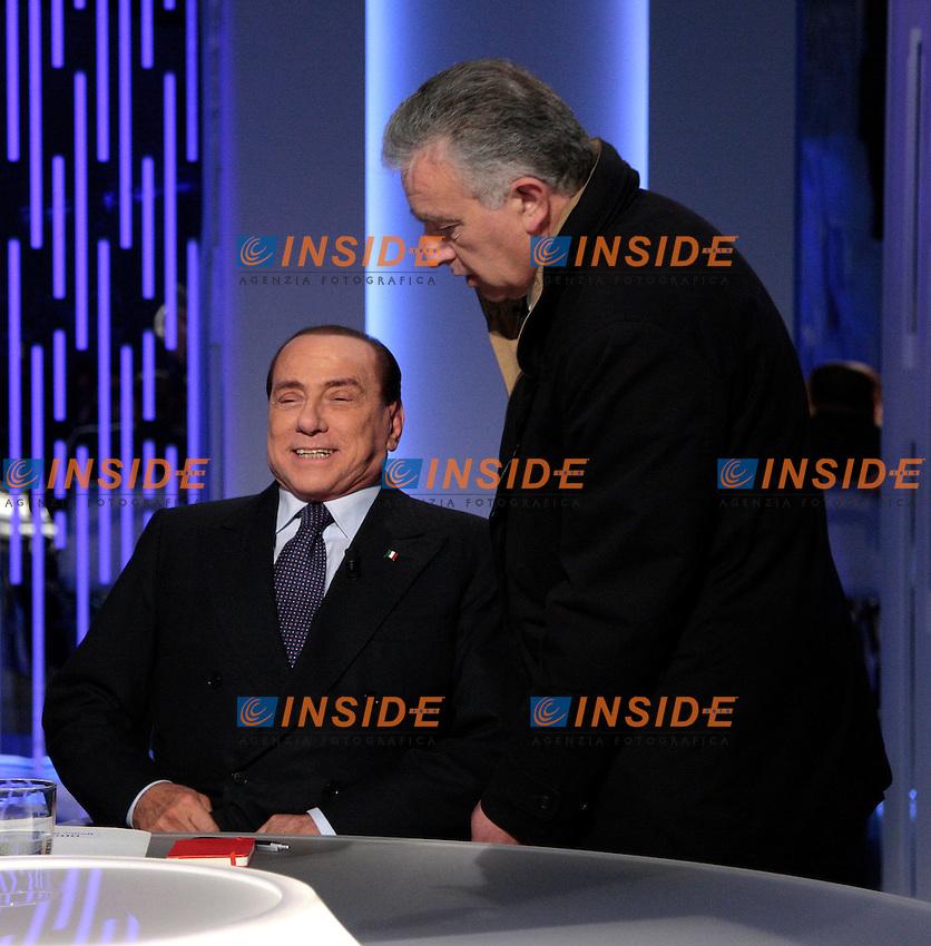 Silvio Berlusconi e Roberto Gasparotti.Roma 08/01/2013 Silvio Berlusconi ospite e Otto e Mezzo sul La7..Silvio Berlusconi guest in a TV show .Photo Samantha Zucchi Insidefoto