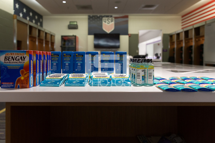 Orlando, FL - Friday Oct. 06, 2017: Johnson & Johnson products in the USMNT locker room prior to a 2018 FIFA World Cup Qualifier between the men's national teams of the United States (USA) and Panama (PAN) at Orlando City Stadium.