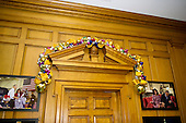 """Ornaments adorn the boxwood arches in the East Wing Hallway as part of the 2015 White House Christmas theme """"A Timeless Tradition"""" at the White House in Washington, DC on Wednesday, December 2, 2015.<br /> Credit: Ron Sachs / CNP"""