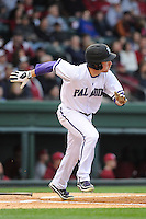 Outfielder Will Muzika (2) of the Furman Paladins runs toward first base in a game against the South Carolina Gamecocks on Wednesday, April 3, 2013, at Fluor Field at the West End in Greenville, South Carolina. (Tom Priddy/Four Seam Images)