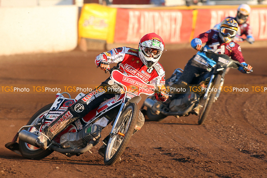 Heat 7: Schlein (red), J Davidsson (yellow) and D Davidsson - Lakeside Hammers vs Peterborough Panthers - Sky Sports Elite League Speedway at the East of England Showground - 03/06/10 - MANDATORY CREDIT: Gavin Ellis/TGSPHOTO - Self billing applies where appropriate - Tel: 0845 094 6026