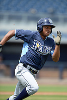 Tampa Bay Rays outfielder Angel Moreno (62) during an Instructional League game against the Minnesota Twins on September 16, 2014 at Charlotte Sports Park in Port Charlotte, Florida.  (Mike Janes/Four Seam Images)