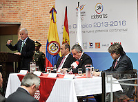 BOGOTA - COLOMBIA - 08 - 05 - 2013: Baltazar Medina (Izq.) Presidente Comité Olimpico Colombiano Juan Carlos Peña (2Izq.), Subdirector Coldeportes, Alejandro Blanco (2Der.) Presidente Comité Olimpico Español y Marcial Muñoz (Der.) Director Diario Marca Colombia, durante Foro en Bogota, mayo 8 de 2013.  El Diario Marca Colombia, en su lanzamiento realizo el FORO CICLO OLIMPICO 2013-2016, (Foto. VizzorImage / Luis Ramirez / Staff). Baltazar Medina (L) Colombian Olympic Committee President, Juan Carlos Peña (2L), Sub the director of  Coldeportes, Alejandro Blanco (2R) Spanish Olympic Committee President and Marcial Munoz (R) Director Diario Marca Colombia, during forum in Bogota, May 8, 2013. El Diario Marca Colombia, at launch performed the OLYMPIC CYCLE FORUM 2013-2016, (Photo. VizzorImage / Luis Ramirez / Staff).