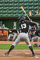 Mylz Jones (13) of the Grand Junction Rockies at bat against the Ogden Raptors in Pioneer League action at Lindquist Field on September 3, 2015 in Ogden, Utah. Grand Junction defeated Ogden 16-8.  (Stephen Smith/Four Seam Images)