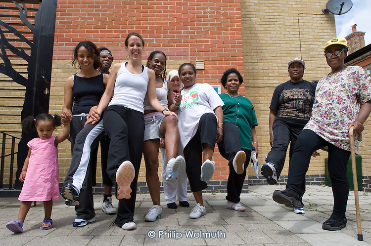 Paula, with members of the new walking group, at the Beethoven Centre, Queens Park.