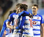 31st October 2017, Madejski Stadium, Reading, England; EFL Championship football, Reading versus Nottingham Forest; teammates congratulate John Swift of Reading on scoring his second goal