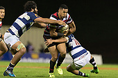 Nigel Ah Wong tries to break past Akira Ioane and Daniel Bowden. Mitre 10 Cup rugby game between Counties Manukau Steelers and Auckland played at ECOLight Stadium, Pukekohe on Saturday August 19th 2017. Counties Manukau Stelers won the game 16 - 14 and retain the Dan Bryant Memorial trophy.<br /> Photo by Richard Spranger.