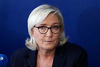 The president  of Rassemblement National Marine Le Pen<br /> Roma 08/10/2018. Convegno Crescita economica e prospettive sociali in un'Europa delle Nazioni.<br /> Rome October 8th 2018. Debate bout the economic growth and social prospectives in the Europe of Nations.<br /> Foto Samantha Zucchi Insidefoto