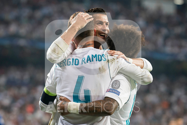 Real Madrid's Sergio Ramos, Cristiano Ronaldo and Marcelo during UEFA Champions League match between Real Madrid and Apoel at Santiago Bernabeu Stadium in Madrid, Spain September 13, 2017. (ALTERPHOTOS/Borja B.Hojas)
