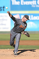 Trevor Graham #30 of the Boise Hawks pitches against the Everett AquaSox at Everett Memorial Stadium on July 25, 2014 in Everett, Washington. Everett defeated Boise, 3-1. (Larry Goren/Four Seam Images)