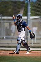 Axel S. Melendez during the WWBA World Championship at the Roger Dean Complex on October 20, 2018 in Jupiter, Florida.  Axel S. Melendez is a catcher from Cidra, Puerto Rico who attends Puerto Rico Baseball Academy.  (Mike Janes/Four Seam Images)