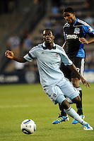 C J Sapong (17) forward Sporting KC in action...Sporting KC defeated San Jose Earthquakes 1-0 at LIVESTRONG Sporting Park, Kansas City ,Kansas,..