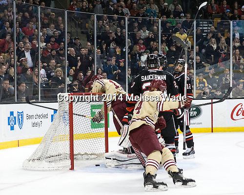 Kevin Hayes (BC - 12) and Bill Arnold (BC - 24) celebrate Hayes' goal. - The Boston College Eagles defeated the Northeastern University Huskies 4-1 (EN) on Monday, February 10, 2014, in the 2014 Beanpot Championship game at TD Garden in Boston, Massachusetts.